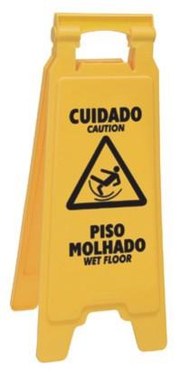 Placa sinalizadora: Cuidado piso molhado