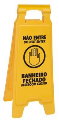 Placa sinalizadora: Não entre em banheiro fechado